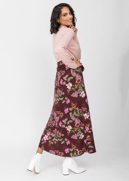 Maxi Wrap Skirt in Pink Floral Burgundy