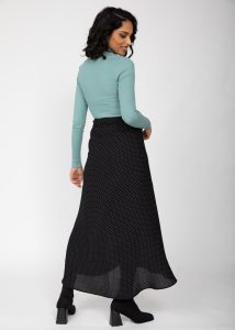 Maxi Wrap Skirt in Polka Dot Black