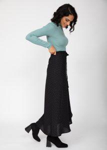 Maxi Wrap Skirt in Polka Dot Black