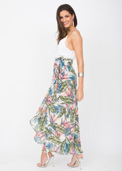 Maxi Wrap Skirt Roses Floral Print White