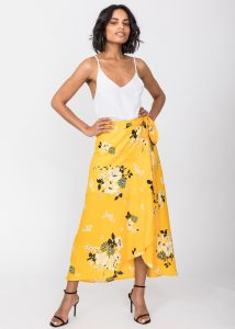 Maxi Wrap Skirt Yellow Floral Print