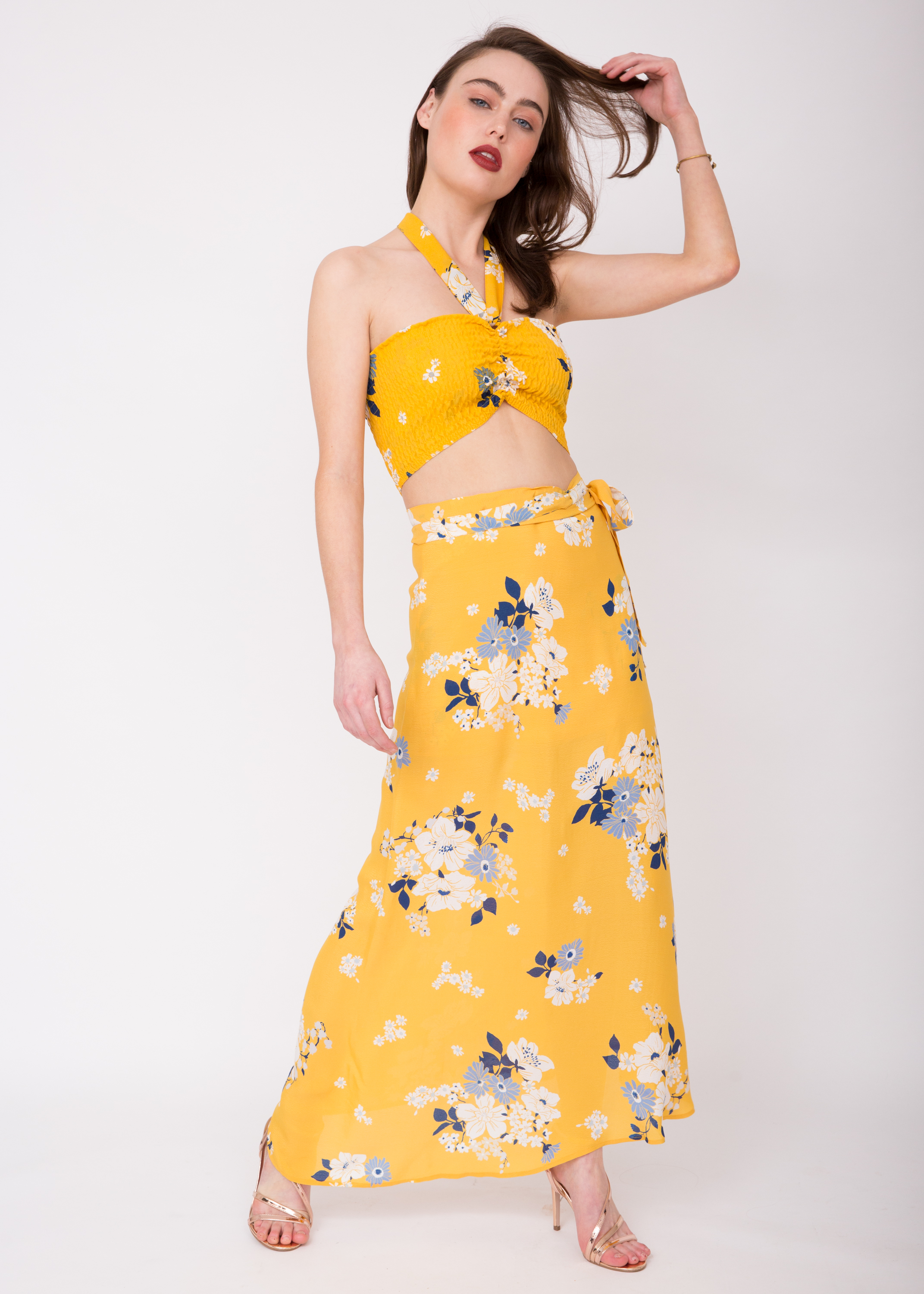7d661247712 Yellow Floral Print Maxi Skirt - Gomes Weine AG