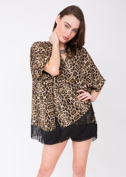 Maya Georgette Tassel Kimono Leopard