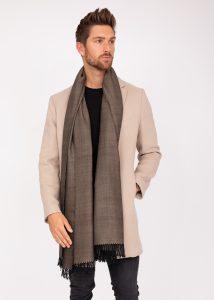 Men's Heritage Herringbone Oversize Scarf Merino Wool in Black 200 X 75cm