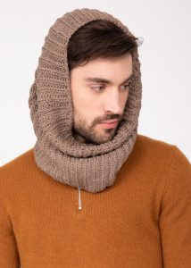 Men's Infinity Snood Scarf Merino Wool Mocha Brown