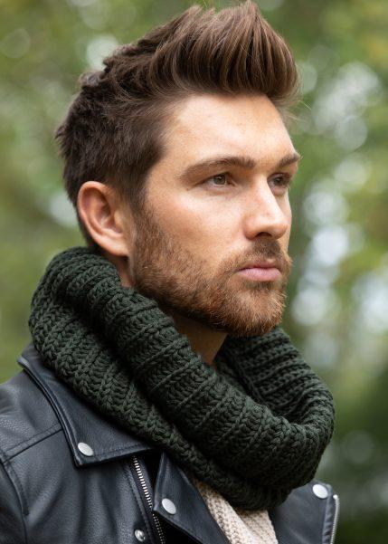 Men's Infinity Snood Scarf Merino Wool Camo Green