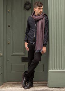 Mens Merino Wool Heritage Herringbone Scarf Raisin 200 X 75cm