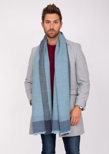 Mens Merino Wool Oversize Blanket Scarf Handwoven Herringbone Weave Blues