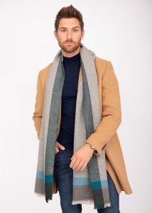Mens Merino Wool Oversize Blanket Scarf Handwoven Herringbone Weave Greens