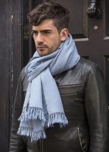 Mens Merino Wool Oversize Blanket Scarf Shoreditch Jeans Blue 100 x 200cm