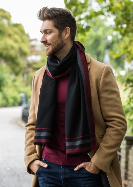 Mens Merino Wool Scarf Handwoven Black with Red Border