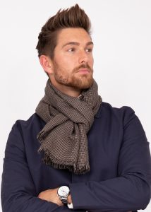 Mens Merino Wool Scarf Handwoven in Houndstooth Plaid Mocha Brown
