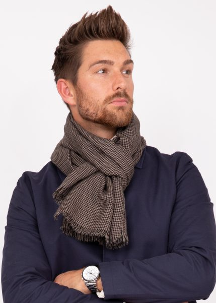Mens Merino Wool Scarf Handwoven in Houndstooth Plaid Mocha Brown