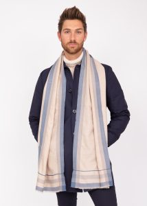 Mens Merino Wool Scarf Handwoven Neutral with Blue Border