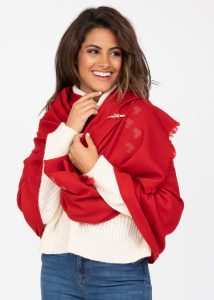 Merino Blanket Scarf Shawl and Oversize Scarf Love Hearts Red 100 x 200cm