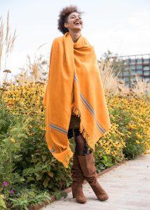 Merino Handwoven Shawl & Oversize Scarf Mansi Mustard Yellow