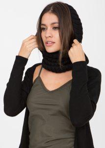 Merino Knitted Infinity Snood Scarf Black
