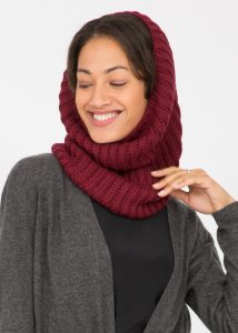 Merino Knitted Infinity Snood Scarf Burgundy