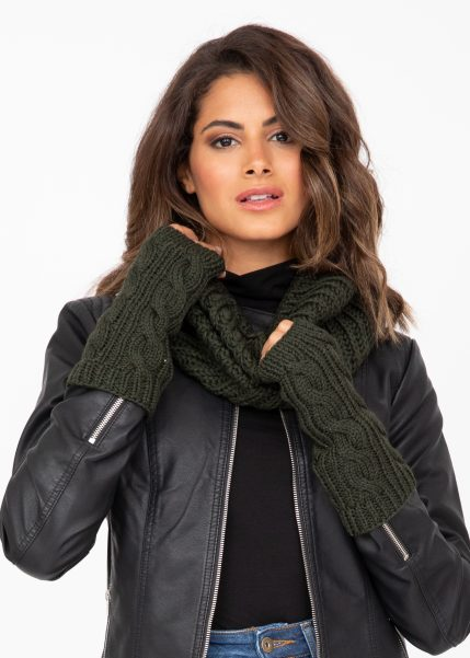 Merino Wool Cable Knitted Long Fingerless Gloves Camo Green