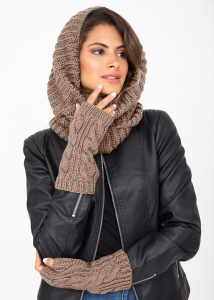 Merino Wool Cable Knitted Long Fingerless Gloves Mocha Brown