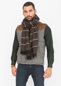 Merino Wool Handspun Stripey Oversize Scarf Brown 51 X 225cm