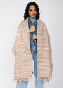 Merino Wool Handspun Stripey Oversize Scarf Caramel 75 X 200cm