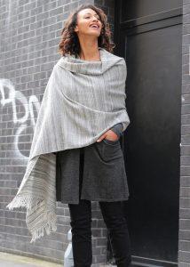 Merino Wool Handspun Stripey Oversize Scarf Grey 75 X 200cm
