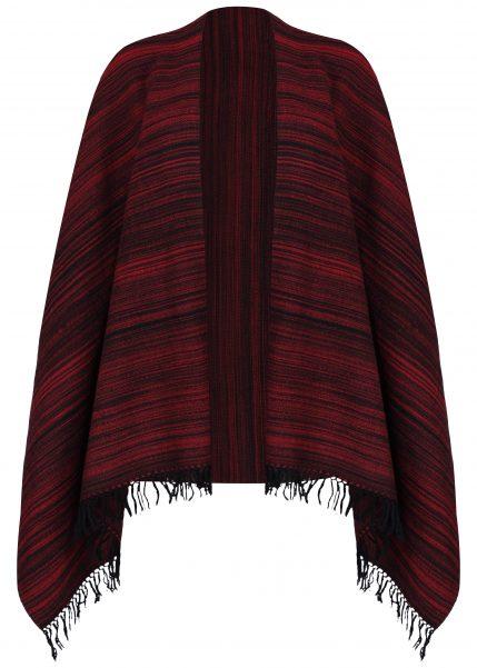 Merino Wool Handspun Stripey Oversize Scarf Red 75 X 200cm