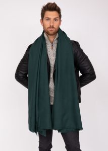 Merino Wool Handwoven Oversize Blanket Scarf 100 X 200cm Holly Green