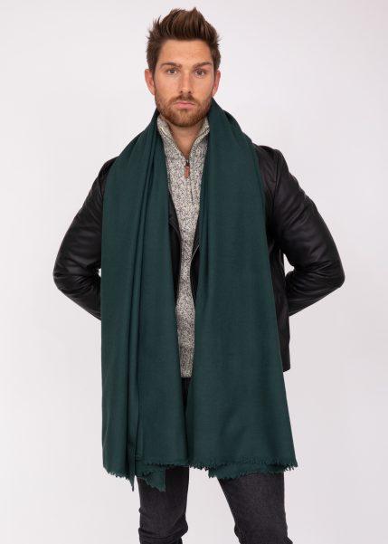 Merino Wool Handwoven Oversize Blanket Scarf 100 X 200cm Holly Green