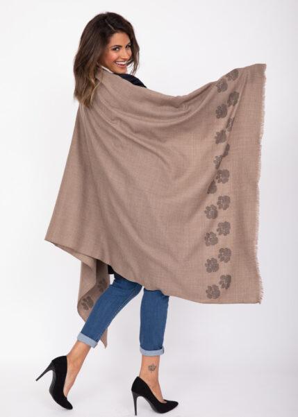 Merino Wool Handwoven Oversize Pashmina & Blanket Scarf with Paws Motif