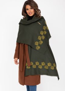 Merino Wool Handwoven Oversize Pashmina & Blanket Scarf with Paws Motif Camo Green