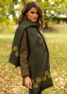 Merino Wool Handwoven Oversize Pashmina & Blanket Scarf with Paws Motif Camo Green