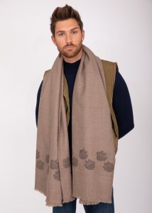 Merino Wool Handwoven Oversize Scarf with Paws Motif 100 X 200cm
