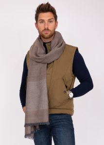 Merino Wool Handwoven Oversize Scarf with Stripes Mushroom Melange 100 X 200cm