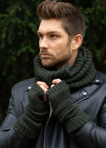 Merino Wool Knitted Long Fingerless Gloves Camo Green