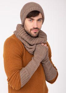 Merino Wool Knitted Long Fingerless Gloves Mocha Brown