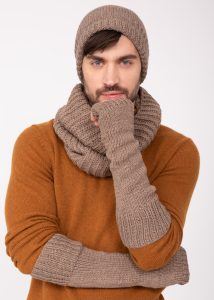 Merino Wool Knitted Long Fingerless Gloves Mocha Brown