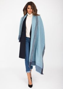 Merino Wool Pashmina Wrap & Blanket Scarf Herringbone Weave Blues