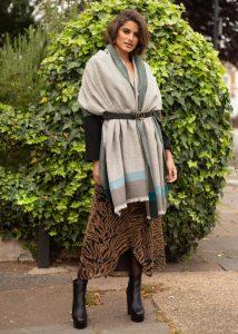 Merino Wool Pashmina Wrap & Blanket Scarf Herringbone Weave Greens