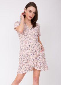 Mini Ruffles Wrap Dress Floral Print