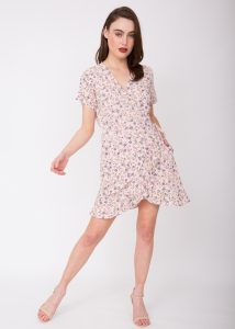 Mini Ruffles Wrap Dress Floral Print