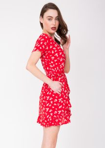 Mini Ruffles Wrap Dress Red Floral Print