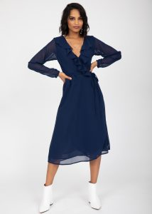 Navy Blue Sheer Midi Wrap Dress With Long Sleeves