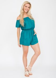 Off Shoulder Aqua Playsuit