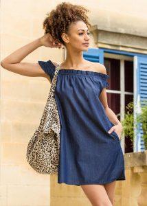 Off Shoulder Bardot Denim Dress