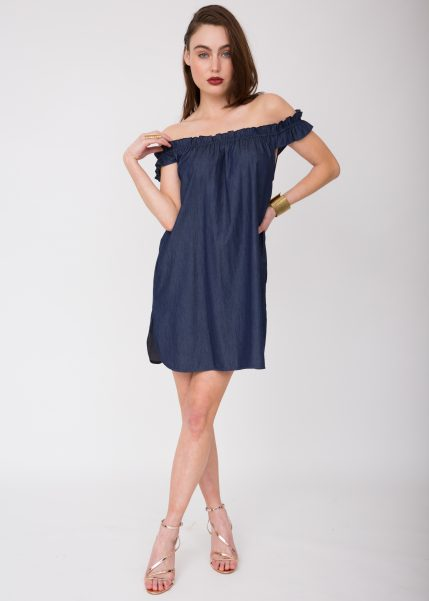 Off Shoulder Bardot Denim Dress
