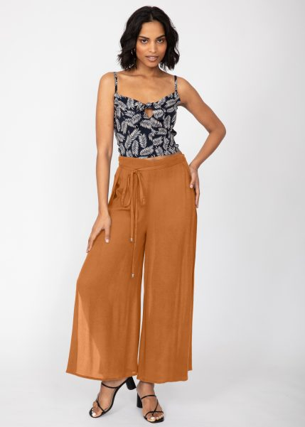 Side Split Wide Leg Relaxed Trousers in Leopard Print