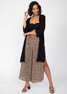 Side Split Wide Leg Relaxed Trousers in Leopard Print