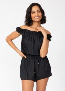 Off Shoulder Bardot Playsuit in Black